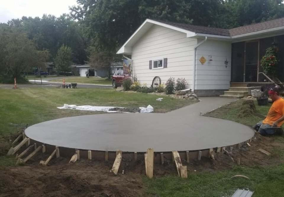 circle concrete patios before stamps